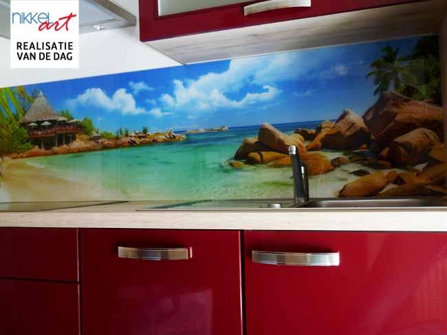 Fotobehang Keuken Achterwand : Keuken foto achterwand Koken op het strand