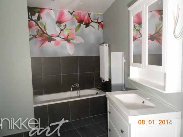 Fotobehang magnolia - Muurdecoratie badkamer ...