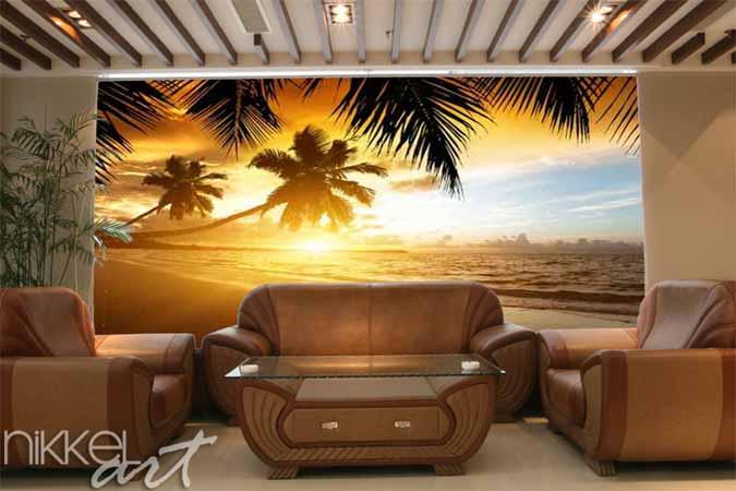 Fotobehang Voor De Slaapkamer : Fotobehang zonsondergang op het strand ...