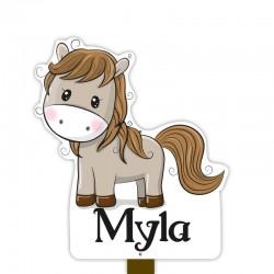 Geboortebord tuin meisje | Paard