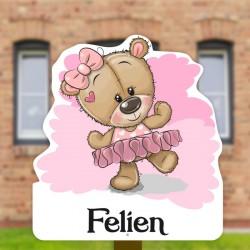 Geboortebord tuin meisje   Teddybeer in tutu