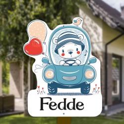 Geboortebord tuin jongen   Teddybeer in de auto met ballonnen