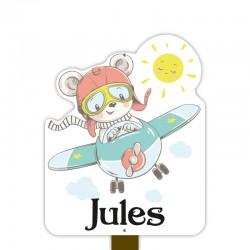 Geboortebord tuin jongen   Teddybeer in het vliegtuig