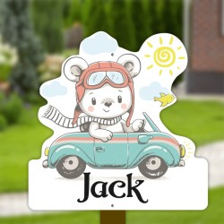 Geboortebord tuin jongen   Teddybeer in de auto