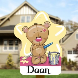 Geboortebord tuin jongen   Teddybeer schilder