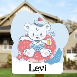 Geboortebord tuin jongen | Teddybeer in zwembad