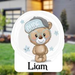 Geboortebord tuin jongen | Teddybear met bril
