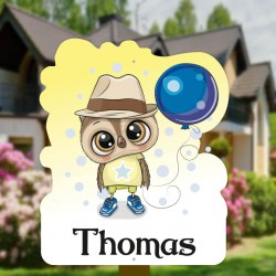 Geboortebord tuin jongen   Uil met hoed en ballon