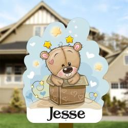 Geboortebord tuin jongen | Teddybeer in doos