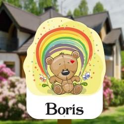 Geboortebord tuin jongen | Teddybeer met regenboog