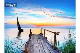 Prachtige landschap met blauwe zee