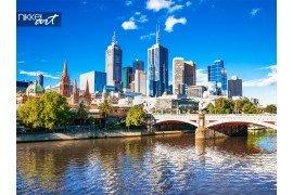 Melbourne skyline op zoek naar Flinders Street Station