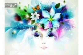 Mooie mode vrouw gezicht met natuurlijke elementen bloemen en vlinders