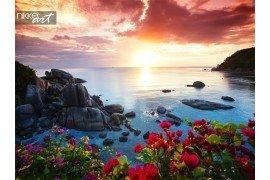 Rustige strandresort prachtige ochtend glorie op de koh samui