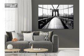 Een prachtig schilderij van een Brooklyn Bridge in het zwart wit