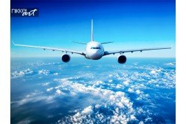 Passagiersvliegtuig in de lucht