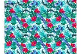 Palmbladeren en blauwe vogels