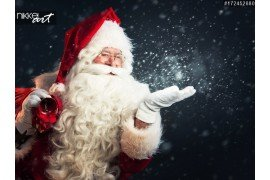 Santa Claus blazen enkele sneeuwvlokken
