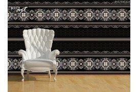 Gestreepte naadloze patroon Bloemen wallpaper