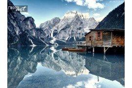Uitzicht op bergen in de Alpen