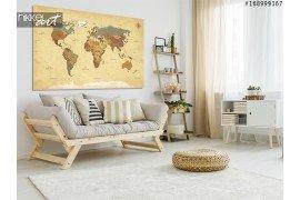 Foto op aluminium wereldkaart