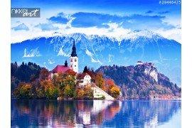Bled met lake Slovenië Europa