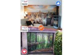 Fotobehang New York vs Tuinposter Rivier in bos