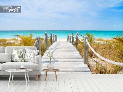 Exotische Palmen en Witte Stranden: Fotobehang van De Caraïben