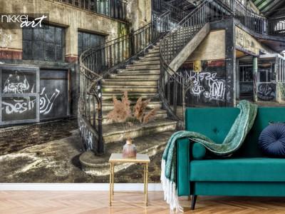 3x Karakteristiek fotobehang met oude verlaten gebouwen
