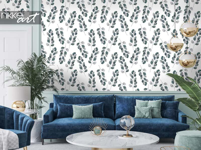 Behang Tropische aquarel naadloos patroon met eucalyptus takken