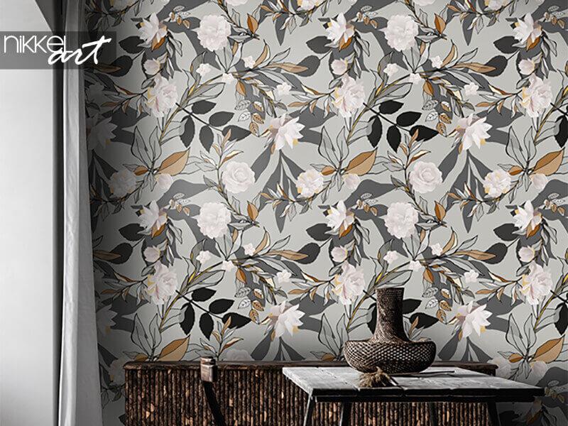 Behang naadloos patroon met witte rozen en grijze bladeren