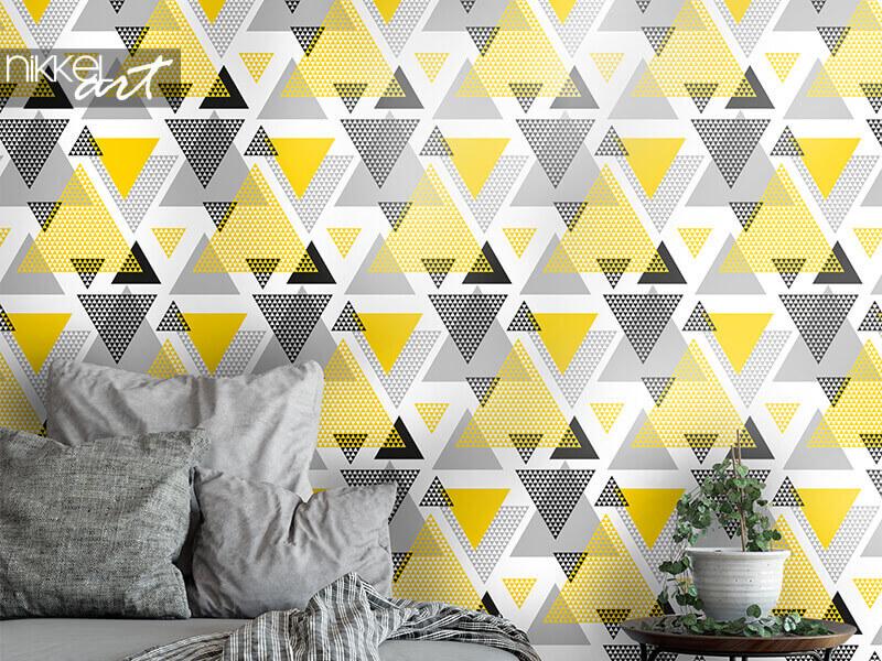 Behang gele en zwarte driehoeken