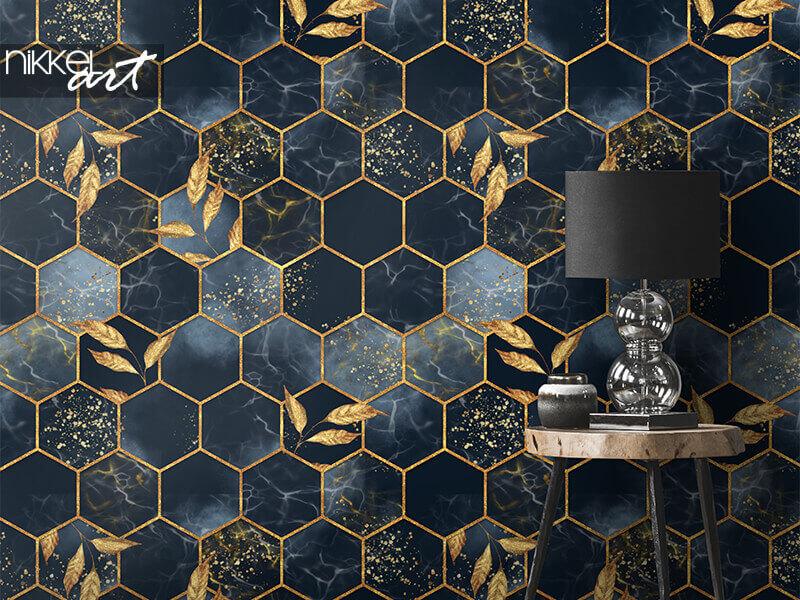 Behang Marmeren zeshoekige naadloze textuur met gouden bladeren