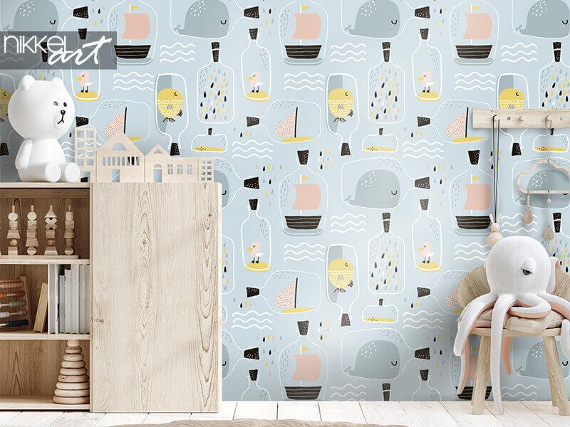Behang naadloos patroon met handgetekende zeekruik
