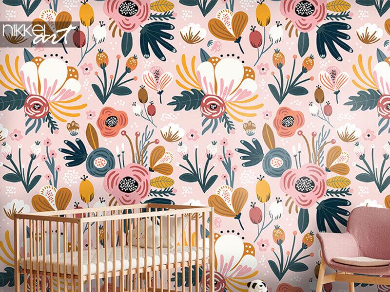 Behang naadloos patroon met bloemen, bessen en bladeren