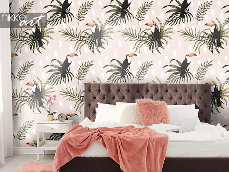 Behang tropische vintage exotische vogeltoekan