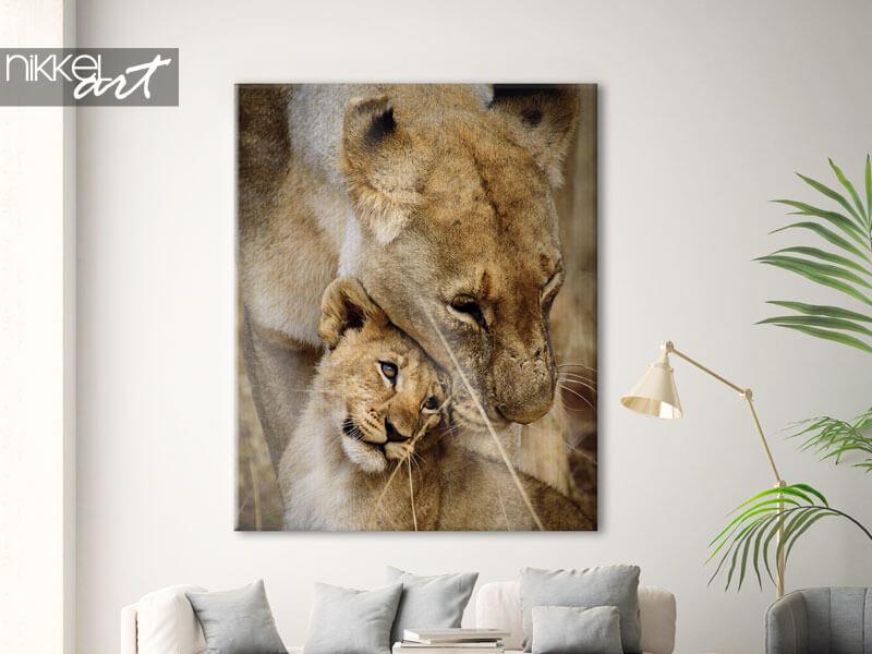Foto op Canvas Moeder en Kind Leeuwen