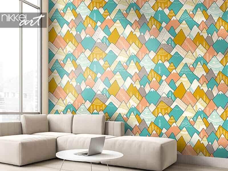 Behang naadloos patroon met bergen in Skandinavische stijl