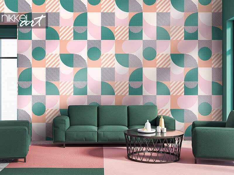 Behang Kleurrijk geometrisch naadloos patroon in Scandinavische stijl