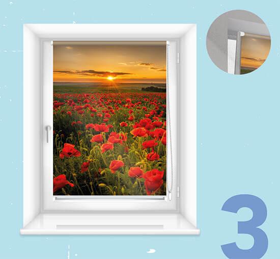 Fotorolgordijn op de raamvleugel