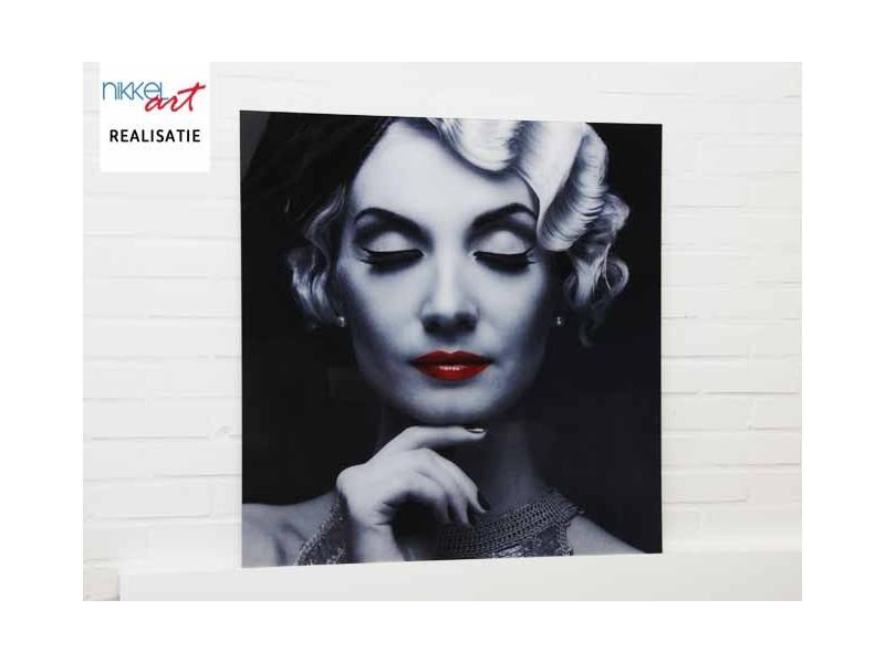 Foto op Aluminium Elegante retro blonde vrouw