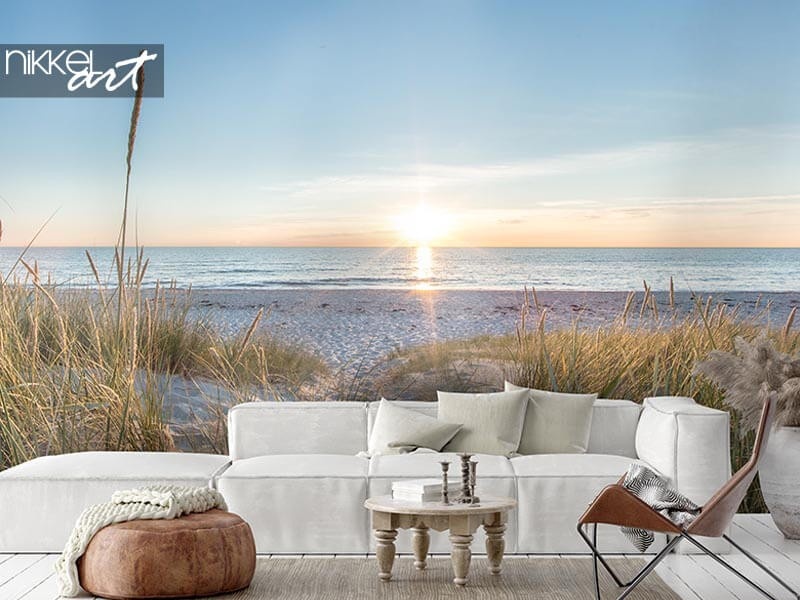 Tripje naar de zon: strand fotobehang