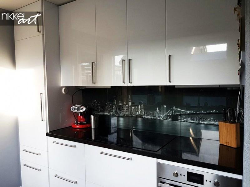 Keuken achterwand met foto van New York