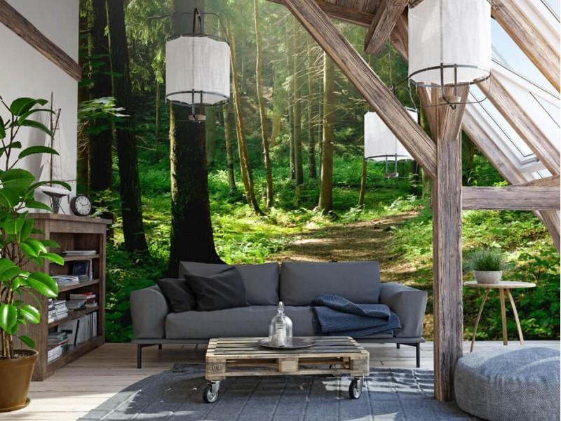 Een rustgevende woonkamer met fotobehang van een bos
