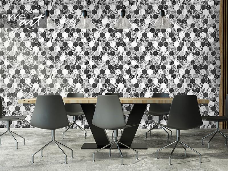 Geometrisch behangpapier met hexagons