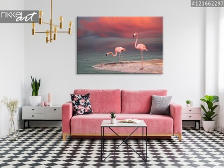 Foto op Canvas Roze flamingo s