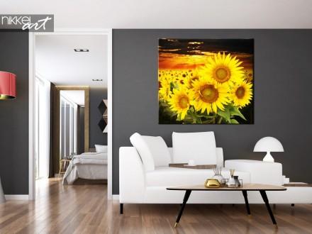 Foto op canvas Mooie zonnebloem veld bij zonsondergang