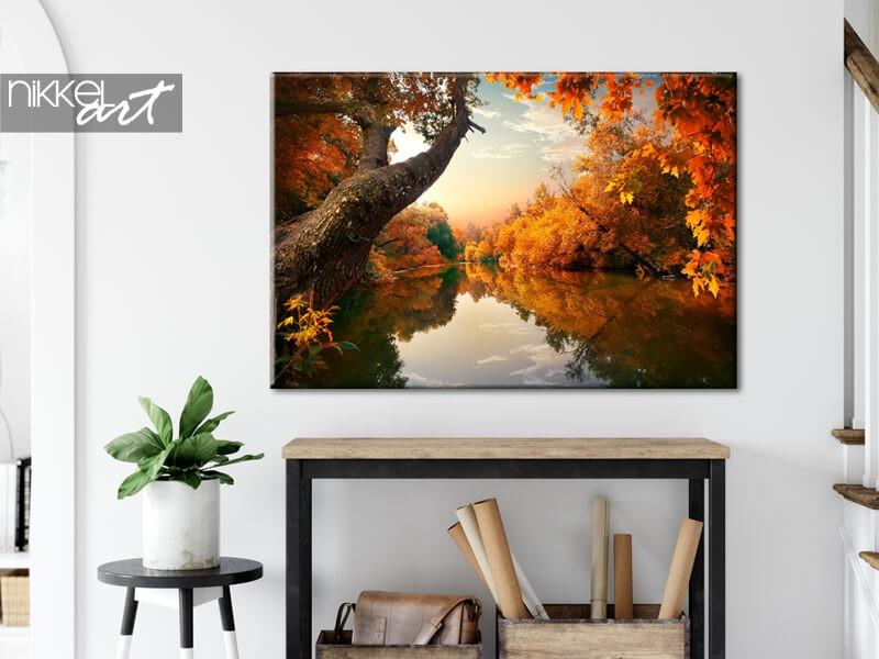 Herfstbos op canvas