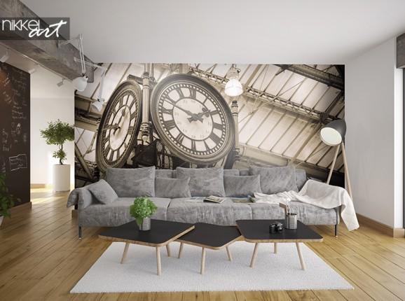Oude klok op fotobehang