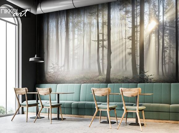 Mistig bos op fotobehang